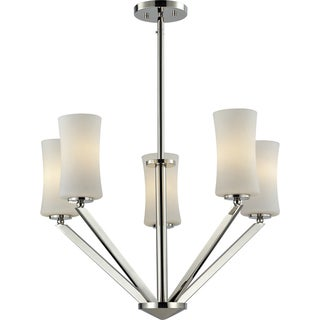 Elite Chrome Five-Light Angled Chandelier