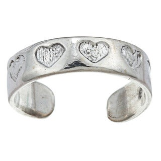 Sterling Silver Etched Heart Adjustable Toe Ring
