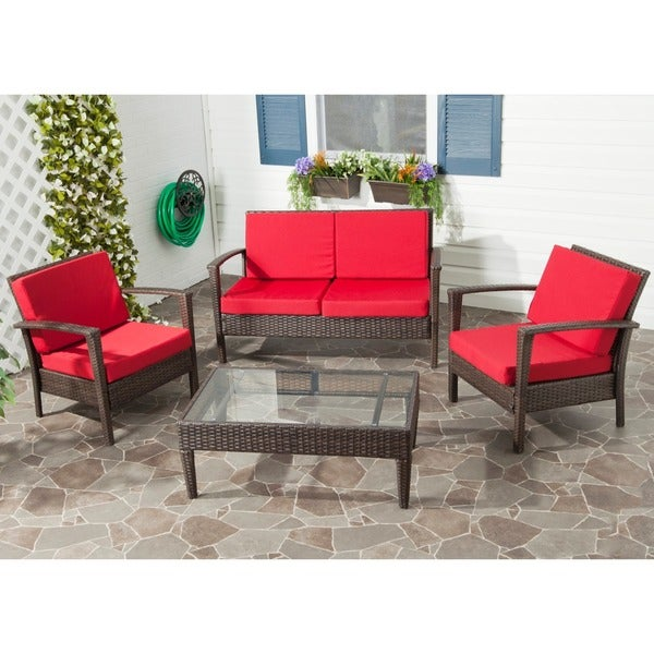 Safavieh Outdoor Living Brown PE Wicker Red Cushion Glass Top 4-piece Patio Set