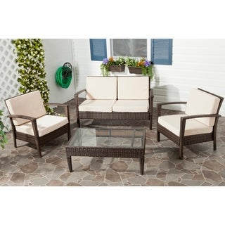 Safavieh Outdoor Living PE Wicker Beige Cushion Glass Top 4-piece Patio Set