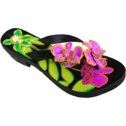 Women's Susan Mango Orchid Painted Leather Sandal Purple/Green