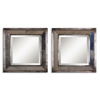 Davion Squares Silver Mirror (Set of 2)