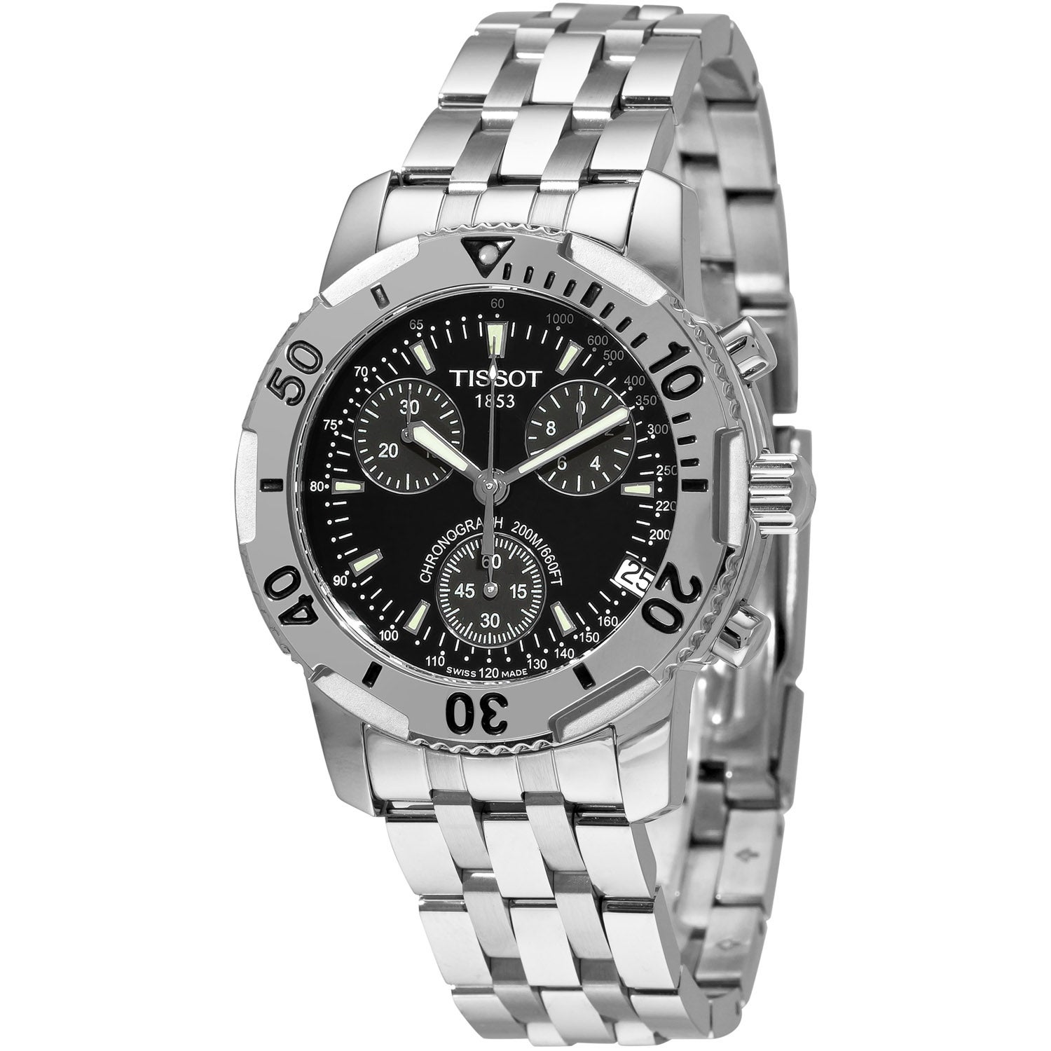 Tissot Men's 'PRS 200' Black Dial Chronograph Stainless Steel Watch