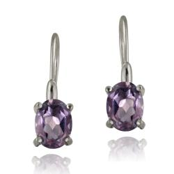 Glitzy Rocks Sterling Silver Amethyst Dangle Earrings (2 1/10ct TGW)