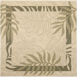 Poolside Cream/ Green Indoor Outdoor Rug (6'7 Square)