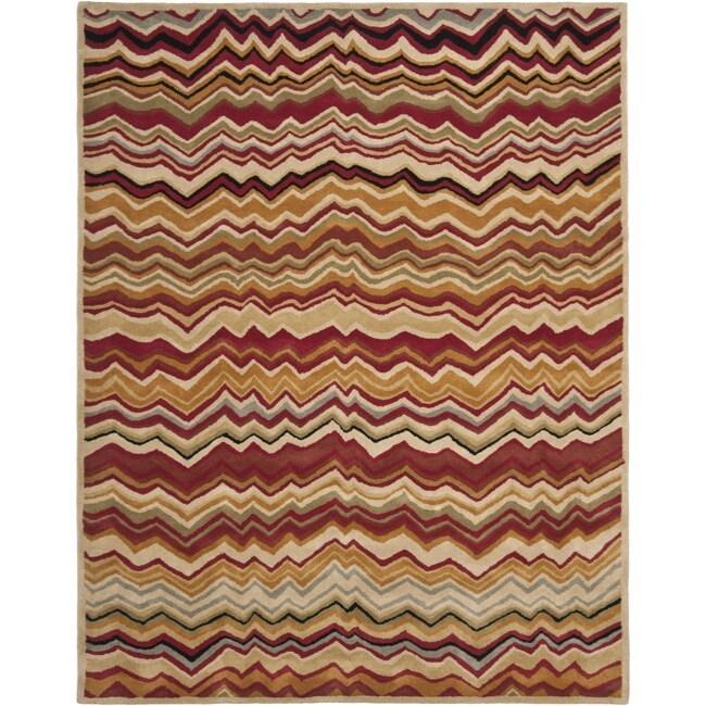 Safavieh Handmade Chatham Zig-Zag Red New Zealand Wool Rug (8' x 10')
