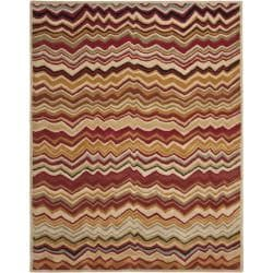 Handmade Chatham Zig-Zag Red New Zealand Wool Rug (8' x 10')