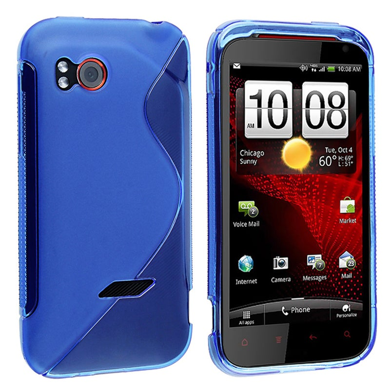 Frost Blue S Shape TPU Rubber Skin Case for HTC Vigor