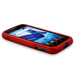 Red Snap-on Rubber Coated Case for Motorola Atrix 2 MB865