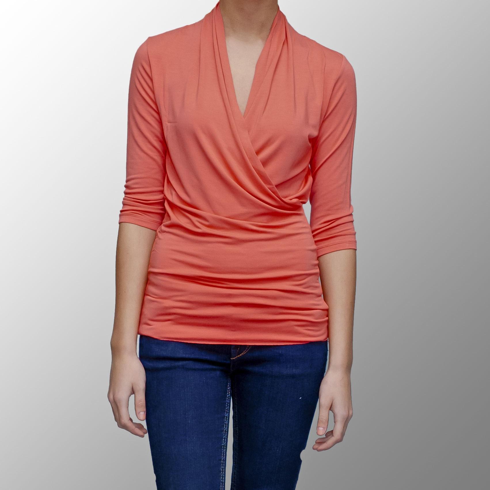 A to Z Women's Coral Modal Faux Wrap Top