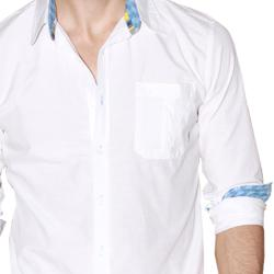 191 Unlimited Men's White Cotton-blend Shirt