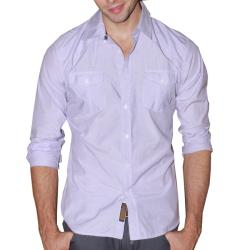 191 Unlimited Men's Lavender Micro-Striped Western Yoke Shirt