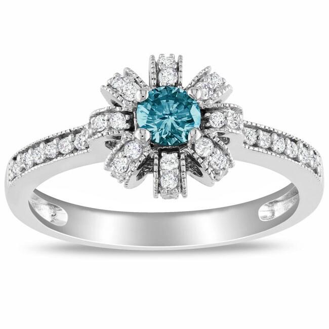 Miadora 14k White Gold 1/2ct TDW Blue and White Diamond Ring (H-I, I1-I2)