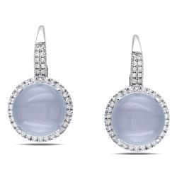 Miadora 14k White Gold Chalcedony and 1/3ct TDW Diamond Earrings (H-I, SI1-2)