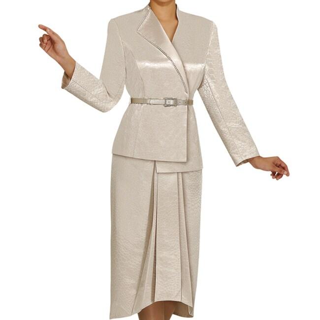 Divine Apparel Women's 2-piece Crocodile Jacquard Plus-size Skirt Suit