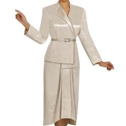 Divine Apparel Women's 2-piece Crocodile Jacquard Plus-size Skirt Suit