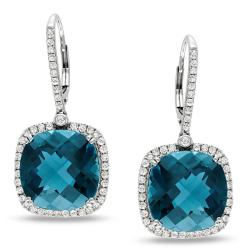 Miadora 14k White Gold Blue Topaz and 7/8ct TDW Diamond Earrings (H-I, SI1-SI2)