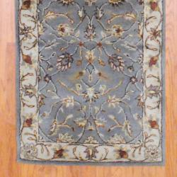 Indo Hand-tufted Gray/ Ivory Wool Rug (2'6 x 8')
