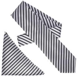 Boston Traveler Men's Diagonal Stripe Microfiber Tie and Hanky Set