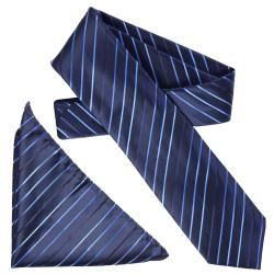 Boston Traveler Men's Diagonal Pinstripe Microfiber Tie and Hanky Set