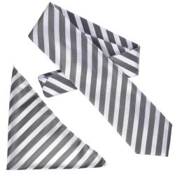 Boston Traveler Men&#39;s Diagonal Stripe Microfiber Tie and Hanky Set
