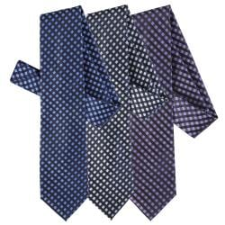 Boston Traveler Men's Window Pane Print Microfiber Tie and Hanky Set