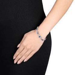 Miadora 14k White Gold Sapphire and 2ct TDW Diamond Bracelet (H-I, SI1)
