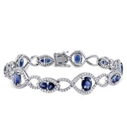 Miadora 14k White Gold Sapphire and 2ct TDW Diamond Bracelet (H-I, SI1)
