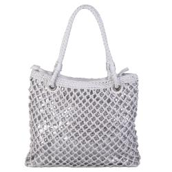 Journee Collection Women's Basket Weave Sequined Zipper Top Bag