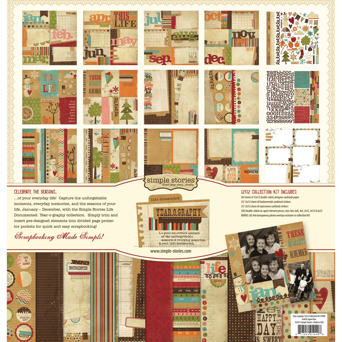 Simple Stories Year-o-graphy Collection 12x12-inch Scrapbooking Kit