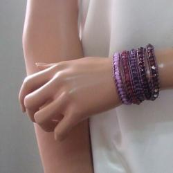 Purple Amethyst Multi Tonal Faceted Stone 5-Wrap Bracelet (Thailand)