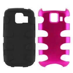 Hot Pink/ Black Fishbone Snap-on Case for LG Optimus S LS670