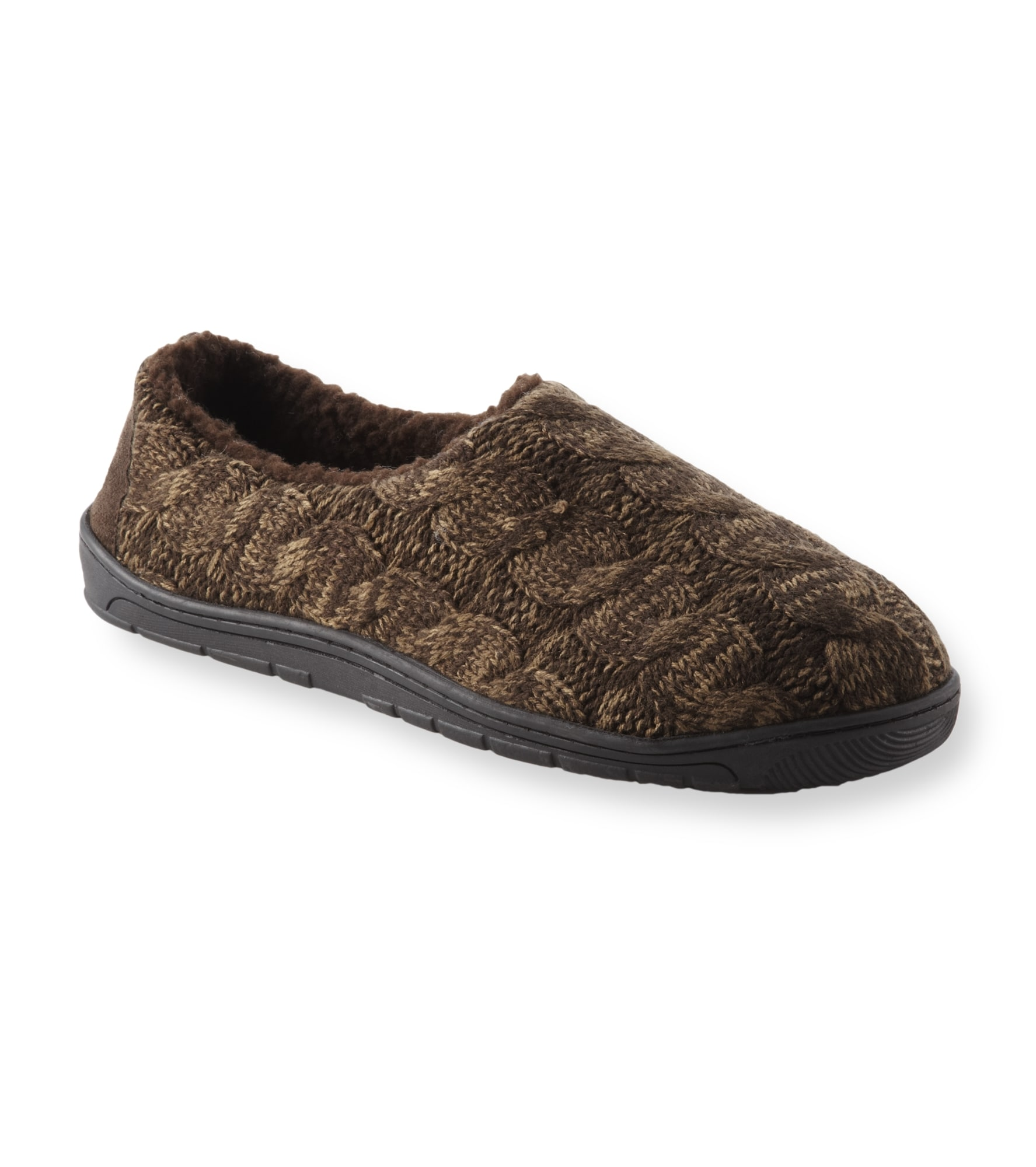 Muk Luks 'Neal' Brown Cable Knit Slippers
