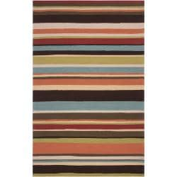 Hand-hooked Red Maren Indoor/Outdoor Stripe Rug (9' x 12')