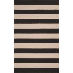 Hand-hooked Brown Snaring Indoor/Outdoor Stripe Rug (8' x 10')