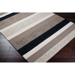 Hand-crafted Black/Grey Striped Casual Eremo Wool Rug (3'3 x 5'3)