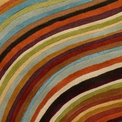 Hand-tufted Contemporary Multi Colored Stripe Alberta Wool Abstract Rug (5' x 8')