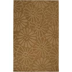 Hand-crafted Solid Beige Floral Epistaz Wool Rug (3'3 x 5'3)