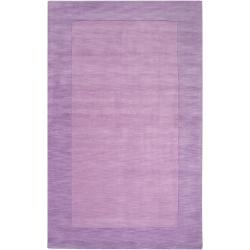 Hand-crafted Purple Tone-On-Tone Bordered Emeto Wool Rug (3'3 x 5'3)