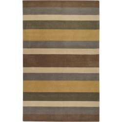 Hand-crafted Multi Colored Stripe Esopo Wool Rug (3'3 x 5'3)