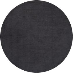 Hand-crafted Solid Black Casual Dysty Wool Rug (6' Round)