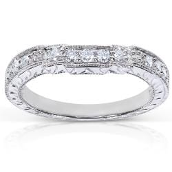 14k White Gold 1/4ct TDW Diamond Curved Wedding Band (G-H, I1-I2)