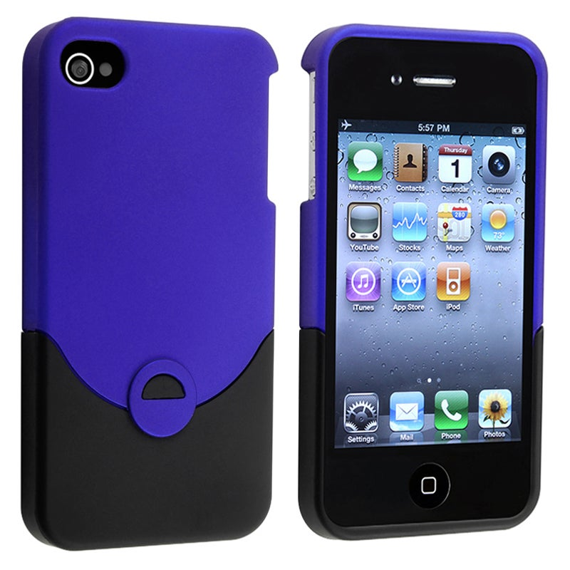 Blue/ Black Rear Snap-on Rubber Coated Case for Apple iPhone 4/ 4S