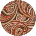 Meticulously Woven Contemporary Brown/Red Floral Paisley Floral Kolpop Rug (6'7 Round)