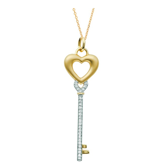 Gold over Silver 1/8ct TDW Diamond Heart Key Necklace (H-I, I1-I2)