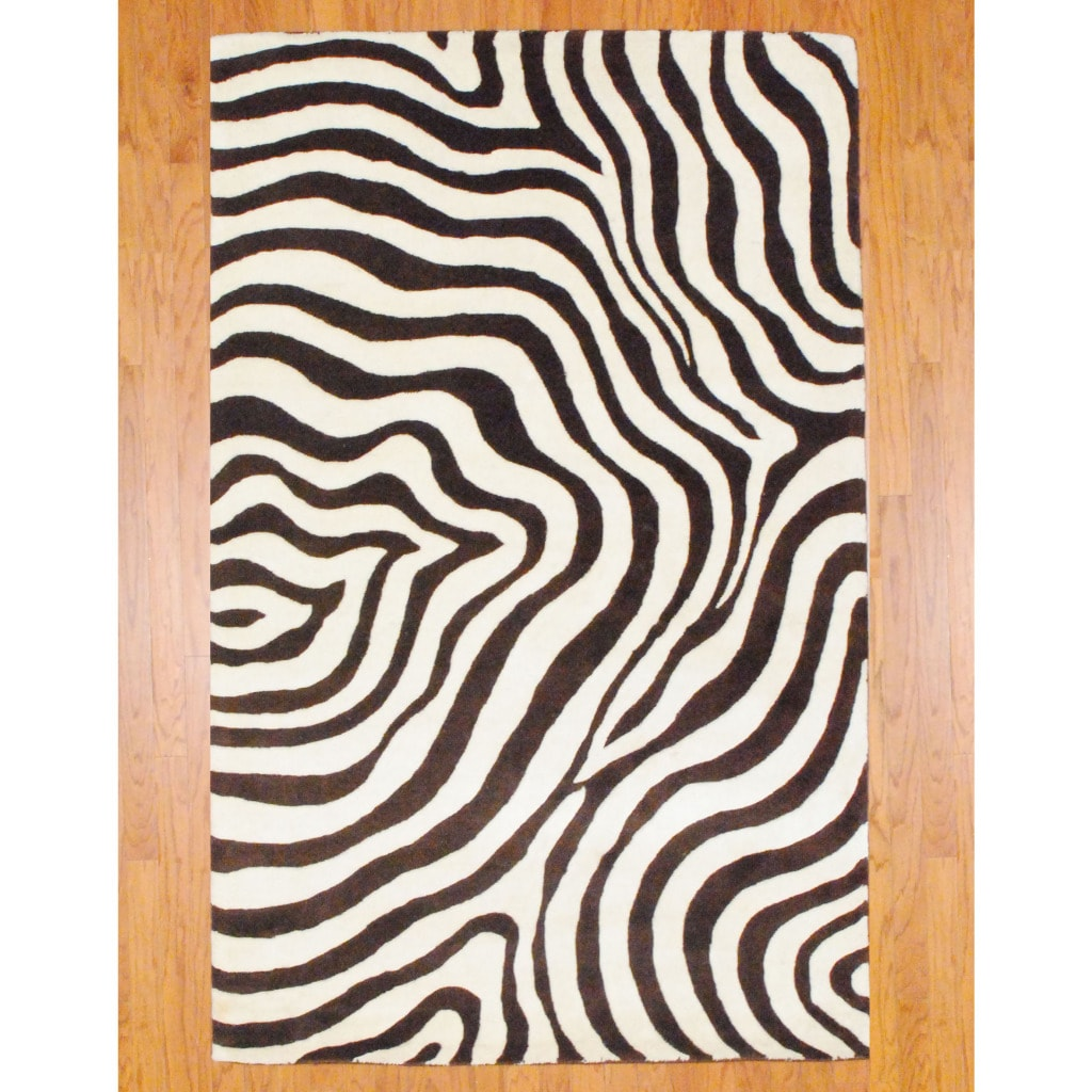 Indo Hand-tufted Zebra-print Brown/ Ivory Wool Rug (5' X 8