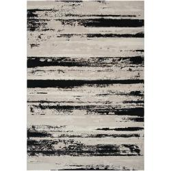Meticulously Woven Contemporary Black/Grey Vintage Stripe Chimta Abstract Rug (5'3 x 7'3)