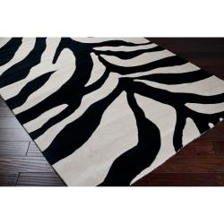 Hand-tufted Black/White Zebra Animal Print Morph Wool Rug (3'3 x 5'3)