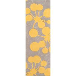 Jef Designs Hand-tufted Grey/Yellow Contemporary Gazar Wool Abstract Rug (2'6 x 8')