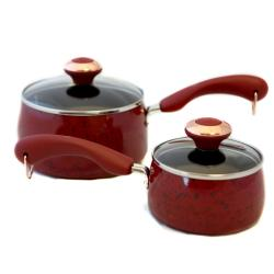Paula Deen Signature Porcelain Red Saucepan 2-piece Set